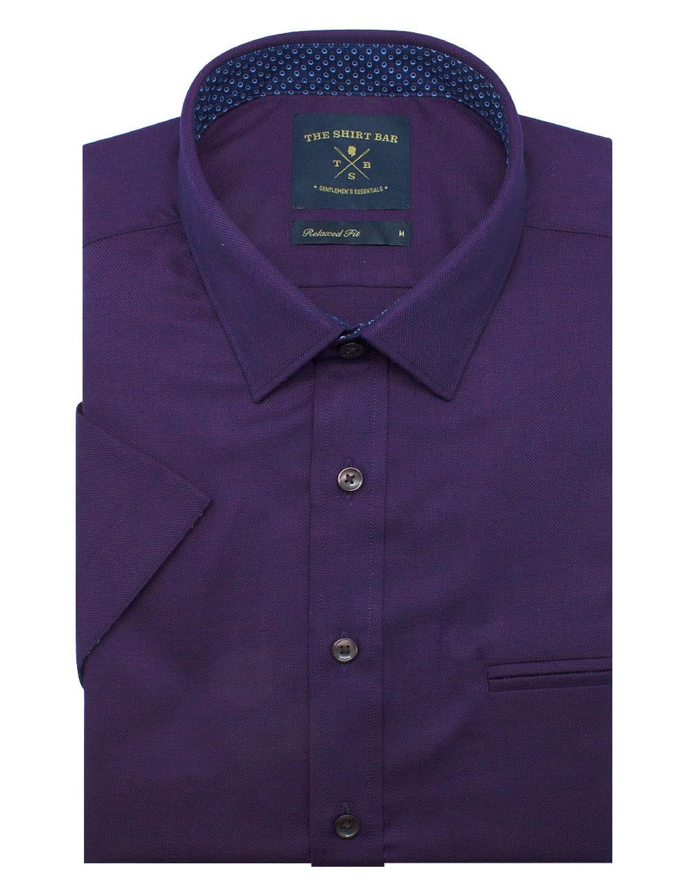 Relaxed Fit Purple Eco-ol Bamboo Blend Wrinkle Free Short Sleeve Shirt RF9SNB8.17