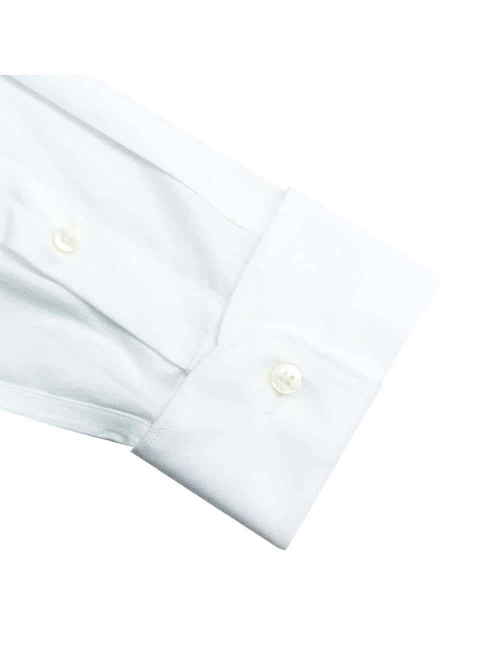 Slim Fit 100% Premium Cotton Classic Collar Long Sleeve Double Cuff Solid White Tuxedo Shirt with Pleated Front Bib and Button Studs, Long Lasting White Finishing SF2RT1.NOS
