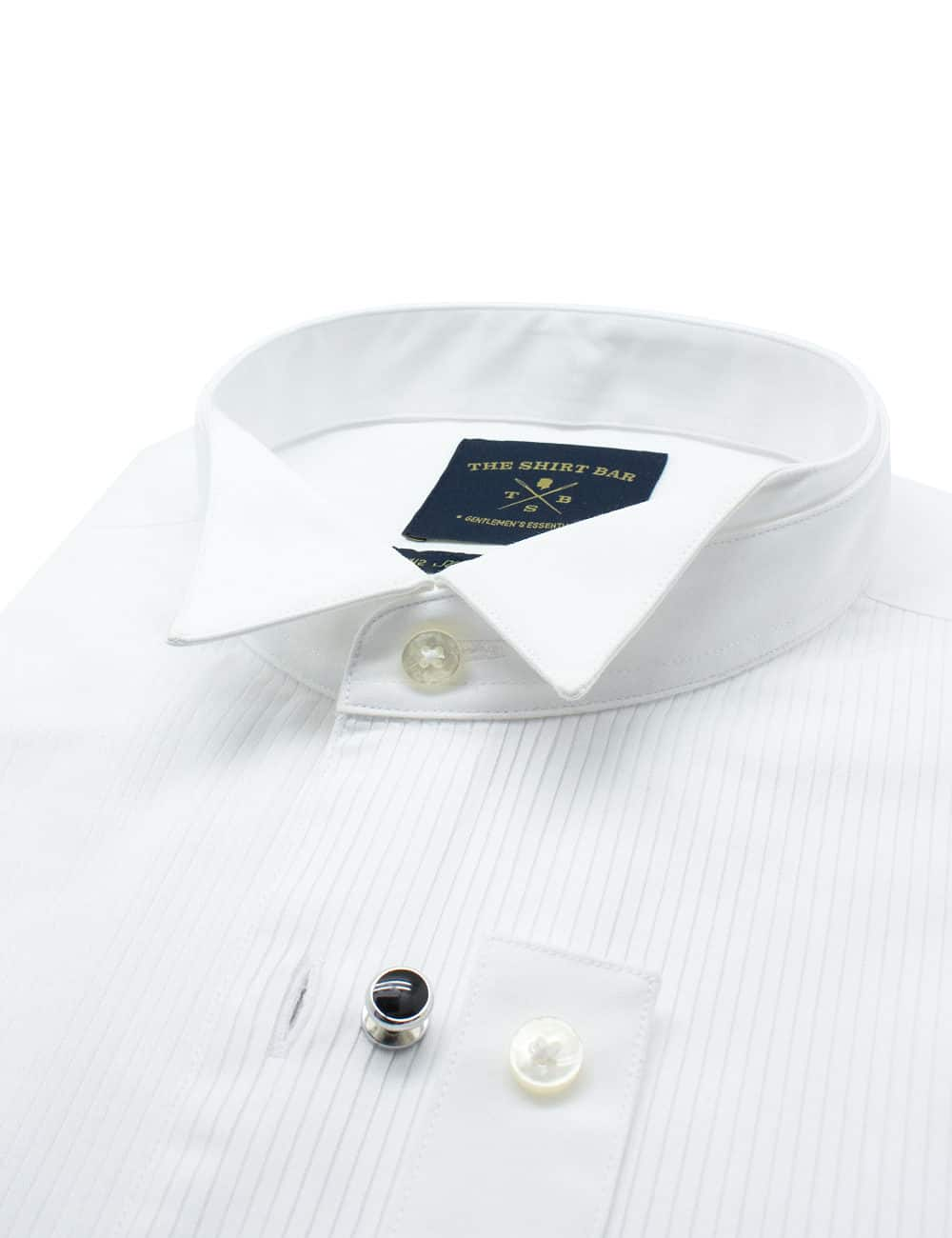 Slim Fit 100% Premium Cotton Solid White Changeable Mandarin Collar Long Sleeve Double Cuff Tuxedo Shirt with Pleated Front Bib and Button Studs, Long Lasting White Finishing SF48DT1.NOS