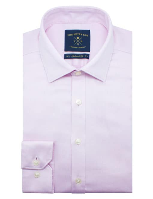 Tailored Fit Pink Herringbone 2 Ply 100% Premium Pima Cotton Long Sleeve Single Cuff Shirt TF2A1.17