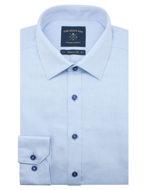 Tailored Fit Blue Herringbone 2 Ply 100% Premium Pima Cotton Long Sleeve Single Cuff Shirt TF2A10.17