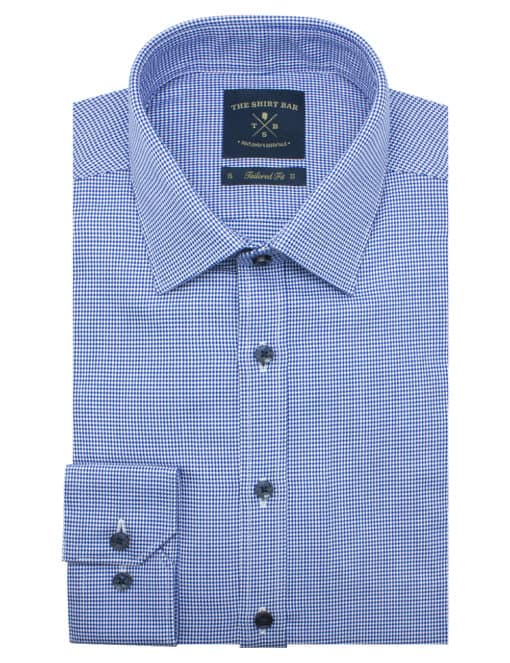 Tailored Fit Blue Houndstooth 2 Ply Pima Cotton Shirt TF2A11.17