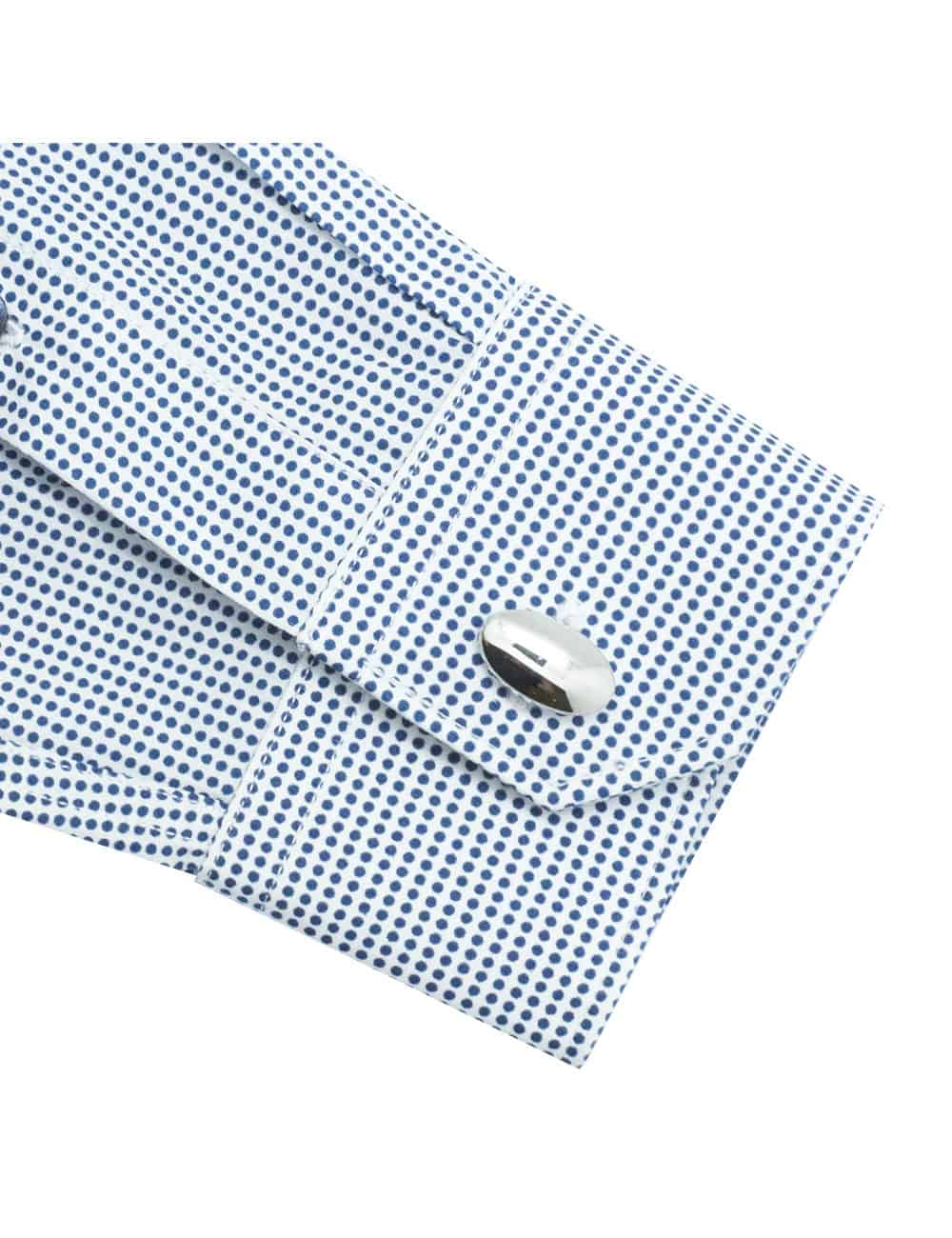 Tailored Fit White with Navy Polka Dots Long Sleeve Shirt TF2A12.17