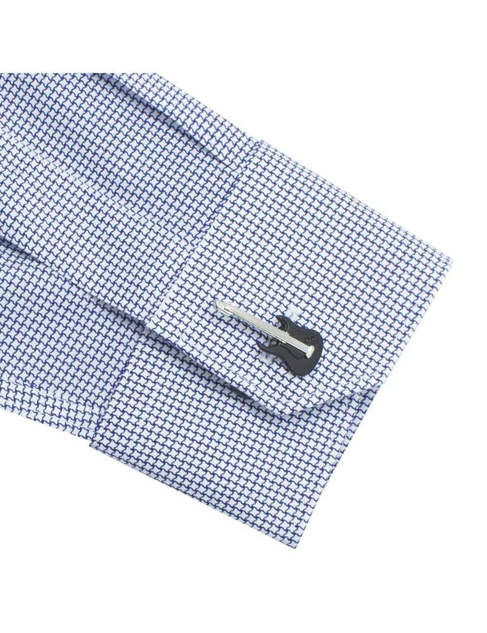 Tailored Fit White with Navy Print Long Sleeve Shirt TF2A13.17