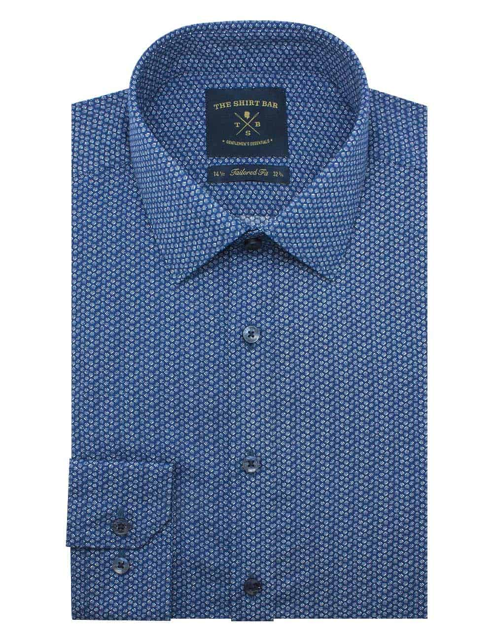 Tailored Fit Blue Print Long Sleeve Shirt TF2A14.17