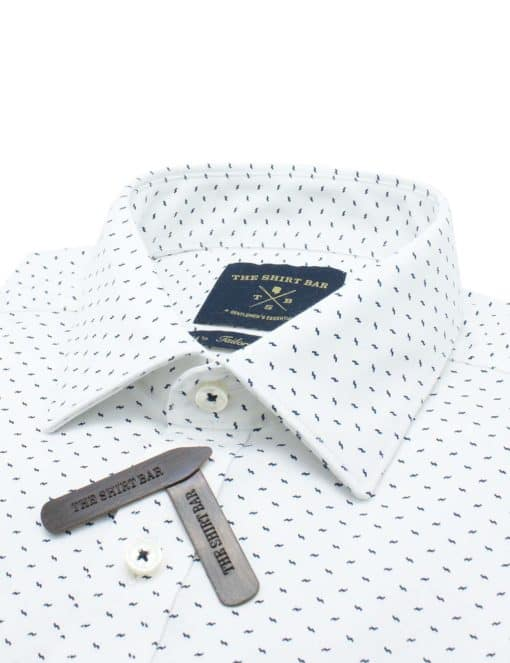 Tailored Fit White with Navy Print Eco-ol Bamboo Blend Wrinkle Free Long Sleeve Single Cuff Shirt TF2A16.17