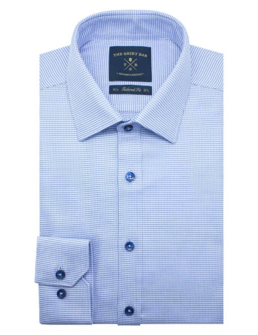Tailored Fit Blue Houndstooth 2 Ply 100% Premium Pima Cotton Long Sleeve Single Cuff Shirt TF2A2.17