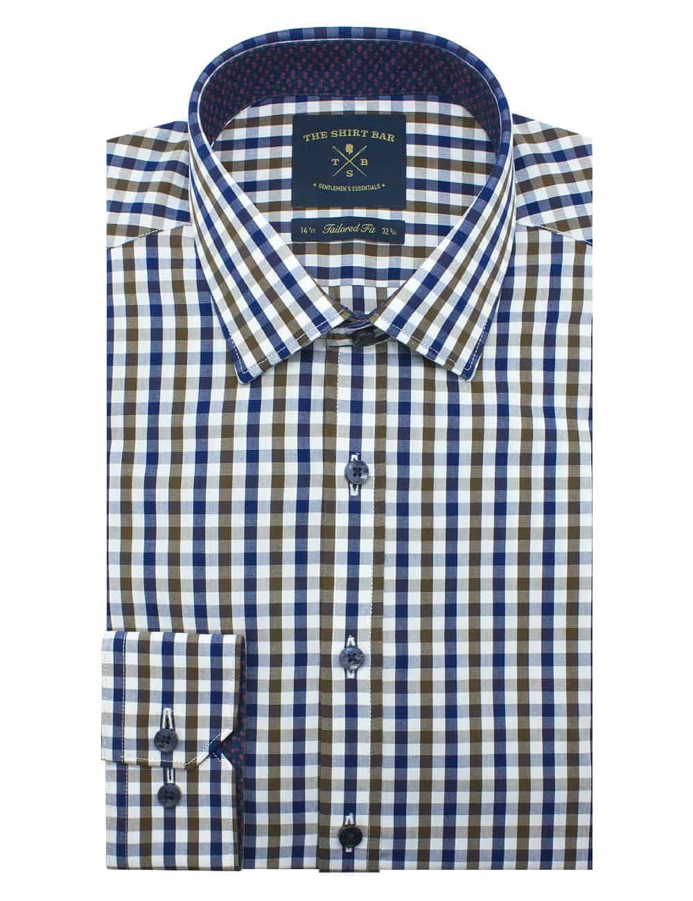Tailored Fit 100% Premium Cotton White/ Brown/ Navy Checks Long Sleeve Single Cuff Shirt TF2A3.17