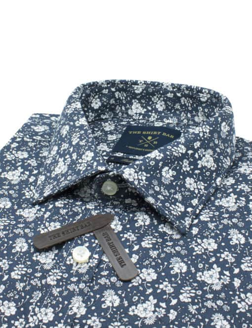 Tailored Fit 100% Premium Cotton Dark Teal with White Floral Print Long Sleeve Single Cuff Shirt TF2A4.17