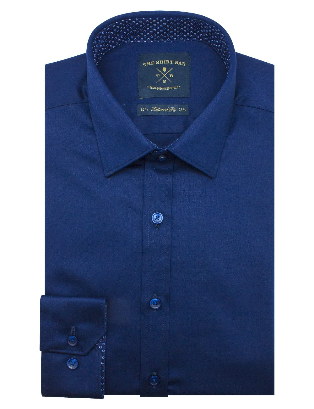 Tailored Fit Solid Navy Twill Eco-ol Bamboo Blend Wrinkle Free Long Sleeve Single Cuff Shirt TF2A6.17