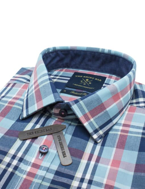 Tailored Fit Cotton Blend Navy with Pink and Blue Checks Easy Care Easy Iron Long Sleeve Single Cuff Shirt TF2A8.17