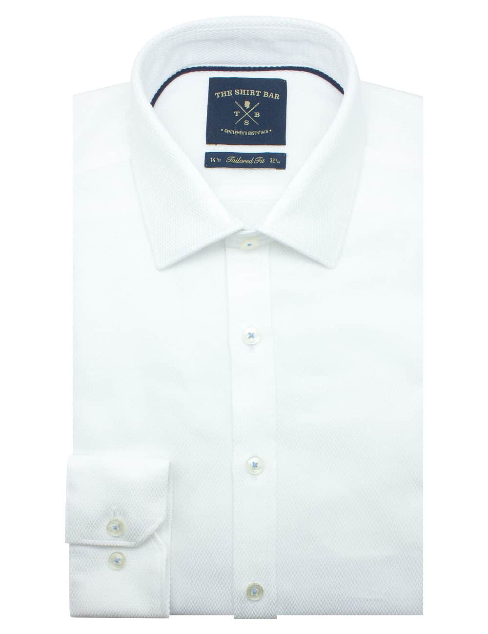 Tailored Fit Solid White Dobby 2 Ply 100% Premium Pima Cotton Double-Ply Long Sleeve Single Cuff Shirt TF2A9.17