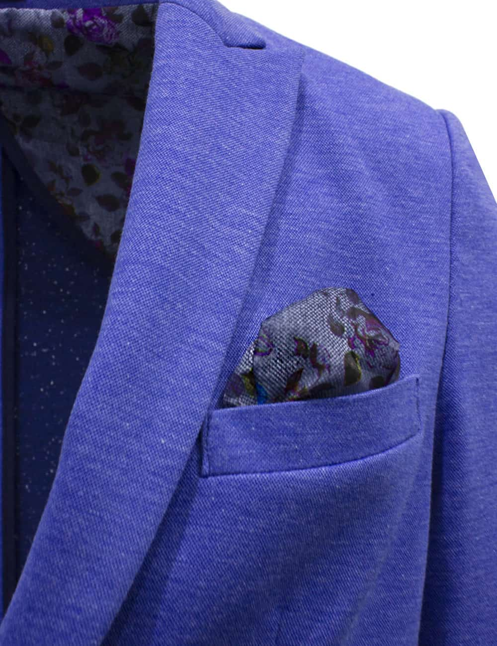 Tailored Fit Blue Knitted Single Breasted Blazer B1B4.3