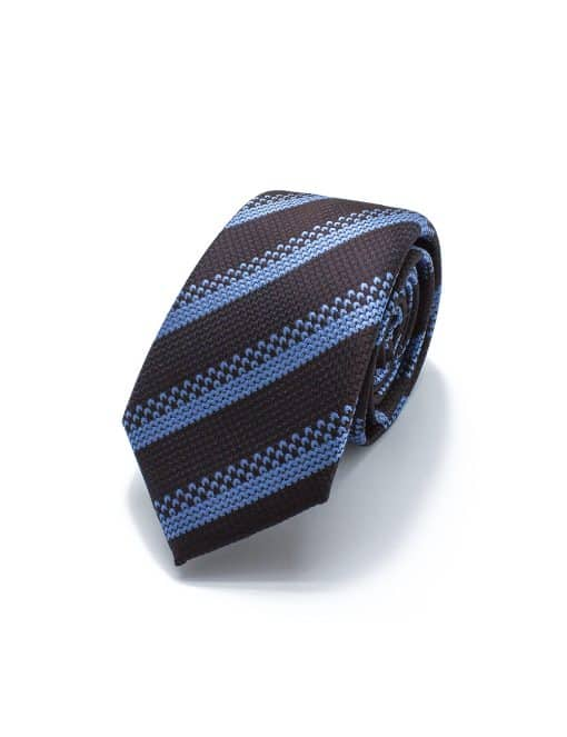 Brown and Sky Blue Stripes Pattern Woven Necktie - NT81.4