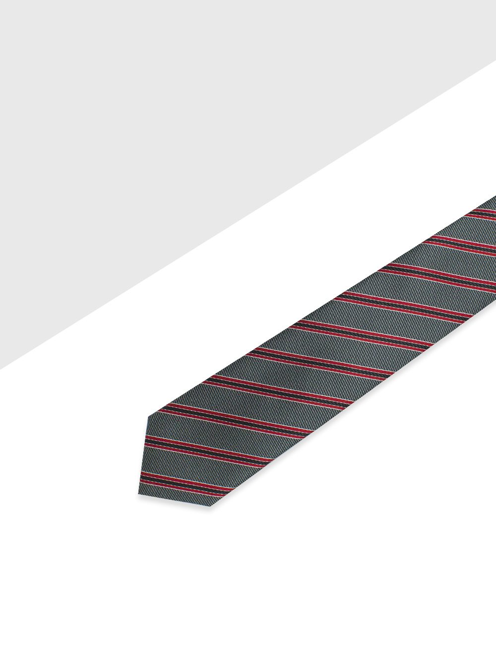 Grey with Red and Black Stripes Woven Necktie - NT51.4