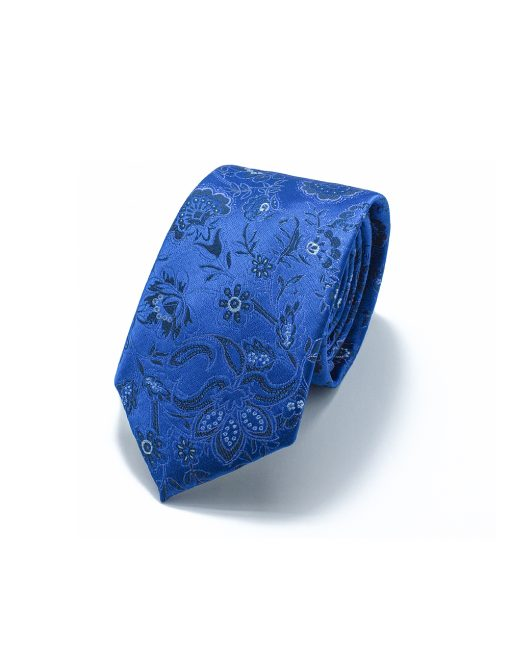 Imperial Blue Floral Woven Necktie - NT43.4