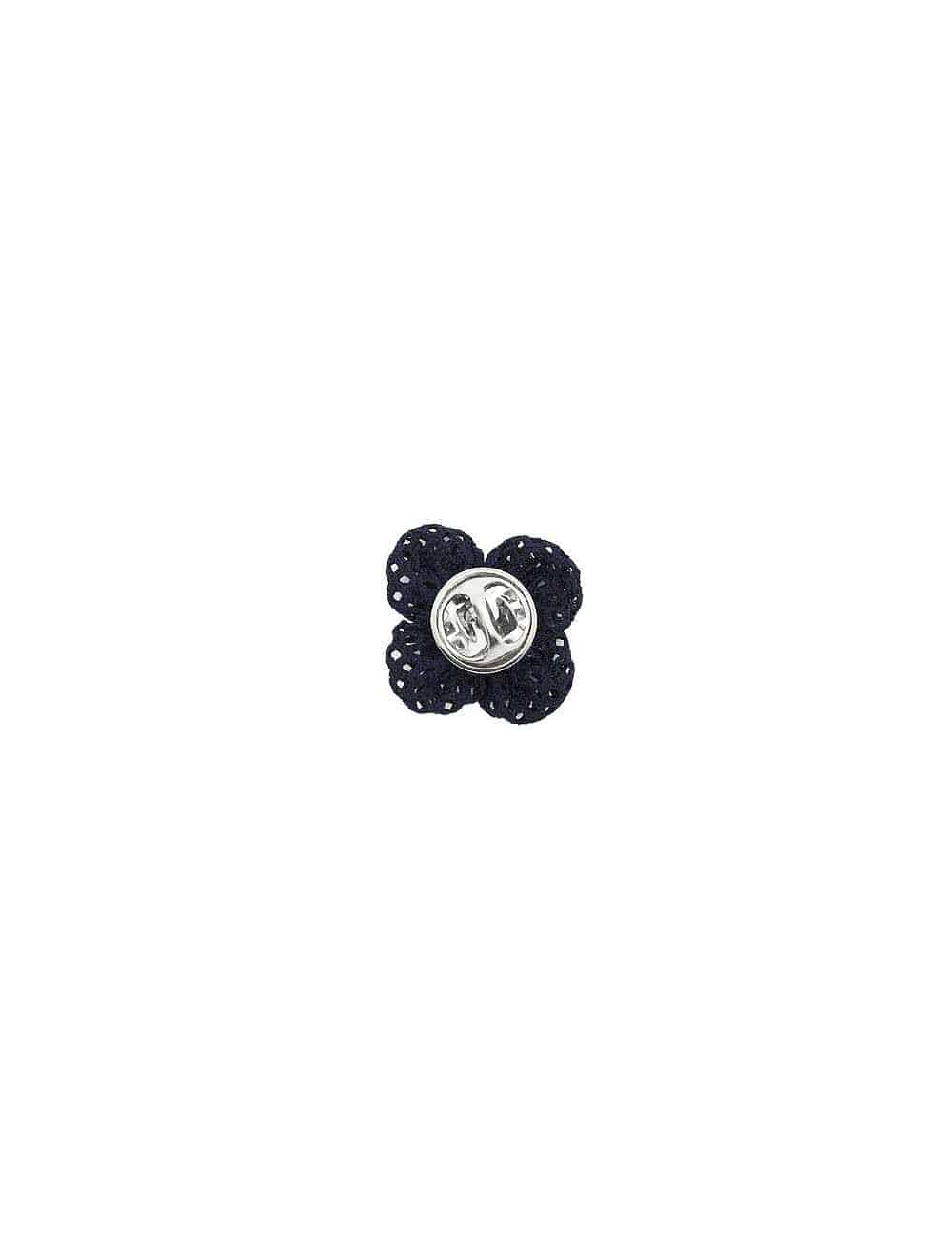 Navy Knitted Floral Lapel Pin LP2.10