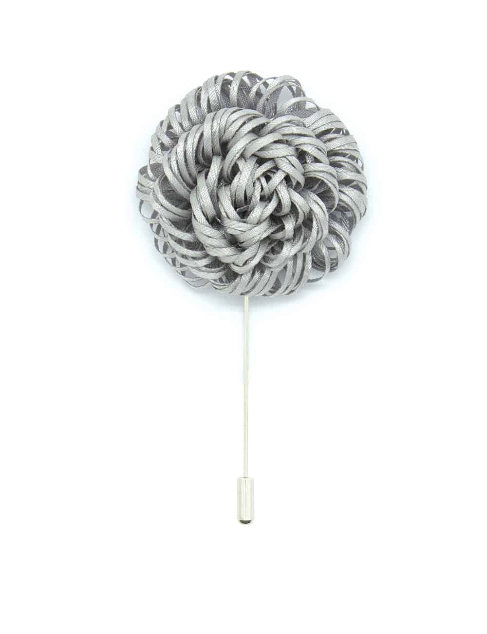 Light Grey Twirl Floral Lapel Pin LP52.10
