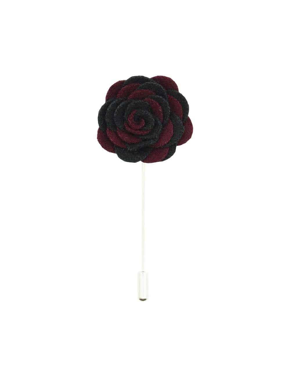Black & Maroon Felt Rose Lapel Pin LP82.8