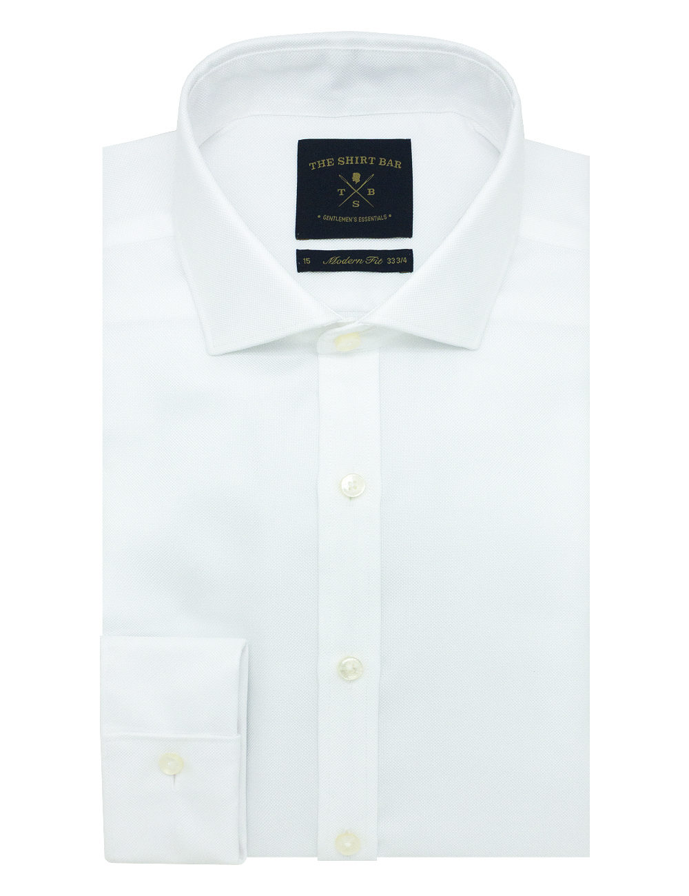 Modern Fit Double Ply Non-iron 100% Premium Cotton Solid White Long Sleeve Double Cuff Shirt with Long Lasting White Finishing MF1D2.NOS