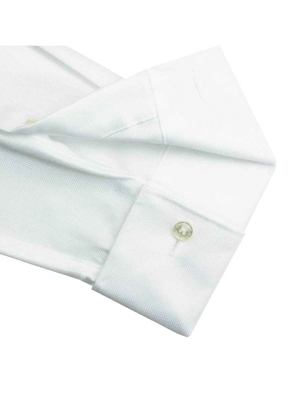 Modern Fit Double Ply Non-iron 100% Premium Cotton Solid White Long Sleeve Double Cuff Shirt with Long Lasting White Finishing MF2D2.NOS
