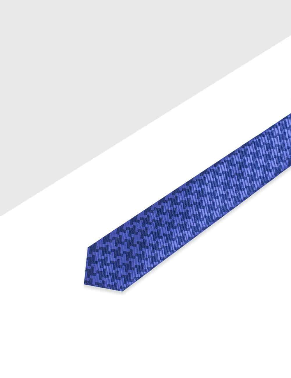 Navy Geometric Pattern Woven Necktie - NT35.4