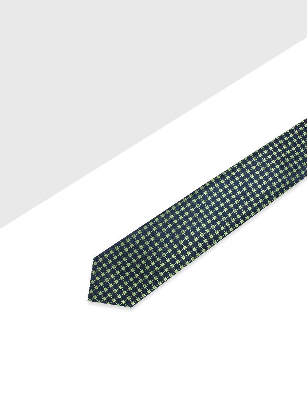 Navy and Green Diamond Pattern Woven Necktie - NT40.4