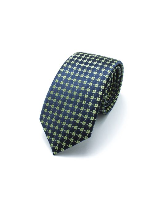 Navy and Green Diamond Pattern Woven Necktie - NT40.4