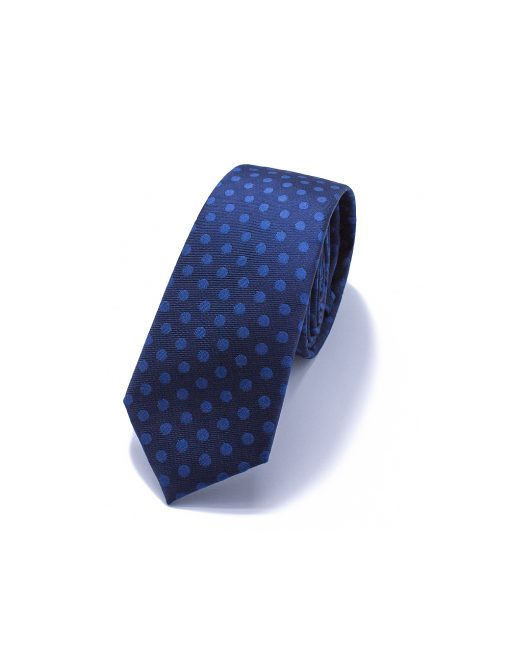 Navy with Blue Polka Dots Woven Necktie - NT50.4