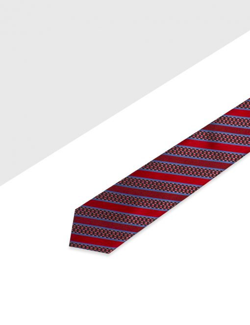 Red with Navy and Blue Stripes Woven Necktie - NT49.4