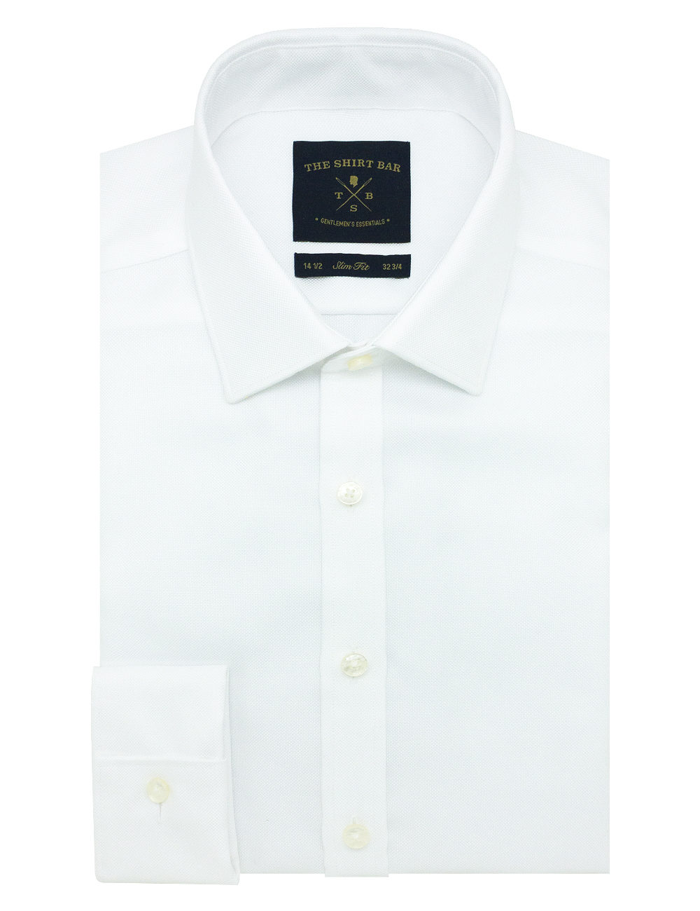 Slim Fit Double Ply Non-iron 100% Premium Cotton Solid White Long Sleeve Double Cuff with Long Lasting White Finishing SF1D1.NOS
