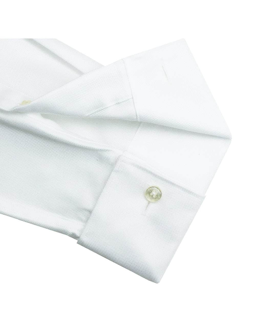 Slim Fit Double Ply Non-iron 100% Premium Cotton Solid White Long Sleeve Double Cuff Shirt with Long Lasting White Finishing SF2D1.NOS