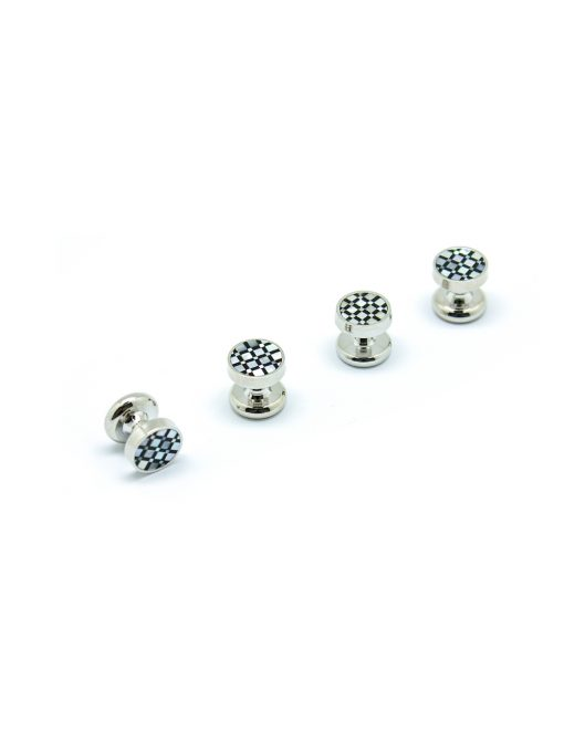 White Pearl and Black Enamel Checks in Silver Tuxedo Studs Set - S131FP-001