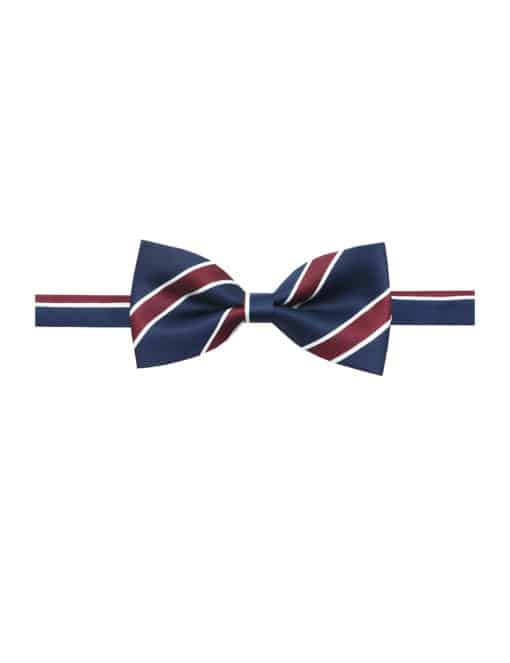 Navy with Maroon Stripes Satin Woven Bowtie WBT15.4