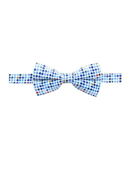 Blue Polka Dots Print Woven Bowtie WBT4.9