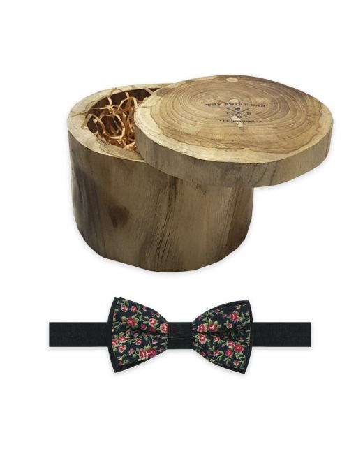 Black with Floral Print Woven Bowtie - WBT55.3