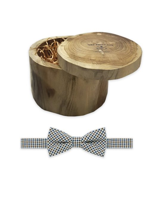 Ecru with Navy and Brown Small Checks Woven Bowtie - WBT48.3