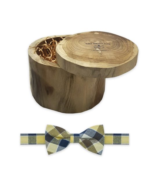Ecru with Navy and Yellow Checks Woven Bowtie - WBT47.3