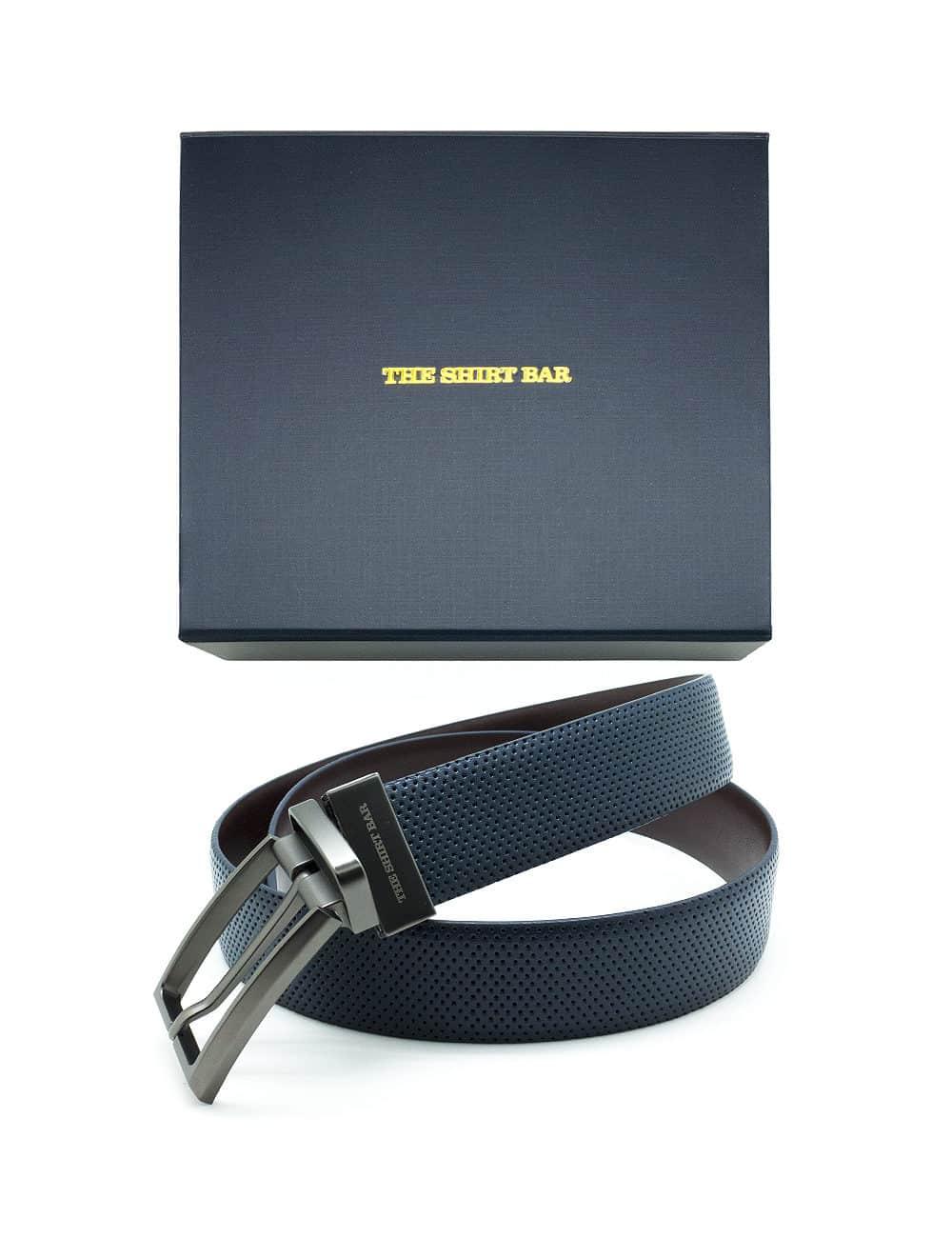 Navy / Dark Brown Reversible Leather Belt LBR12.8