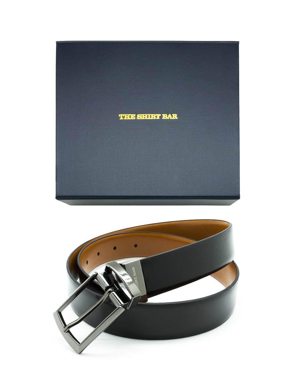 Black / Tan Reversible Leather Belt LBR9.8
