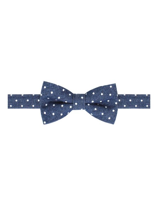 Mid Denim with White Polka Dots Print Woven Bowtie - WBT6.2