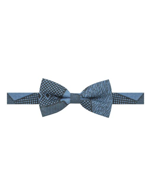 Petrol Blue with Black Print Woven Bowtie - WBT39.4