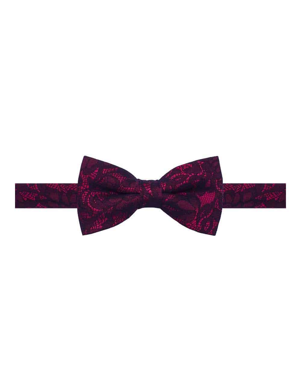 Red with Black Lace Woven Bowtie WBT11.8