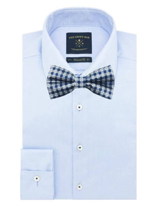 Blue and Grey Checks Woven Bowtie WBT20.7