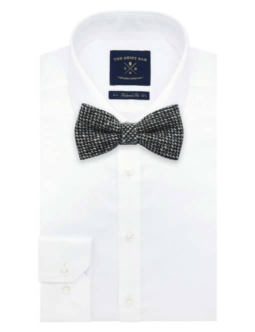 Black and White Weave Woven Clip-on Bowtie WBT24.8