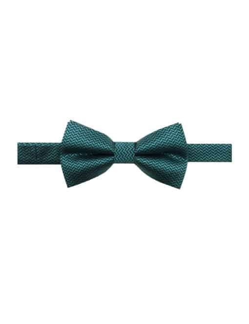 Green and Navy Herringbone Woven Bowtie WBT25.7