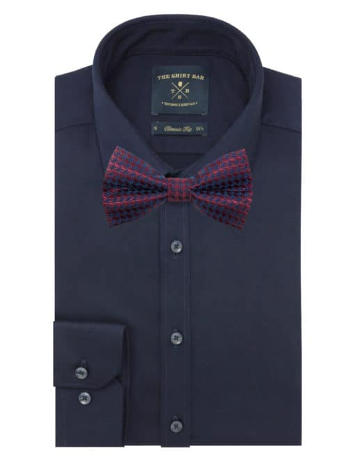 Maroon and Navy Dobby Woven Bowtie WBT32.7