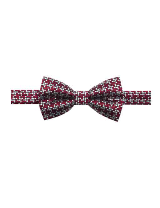 Red and Grey Checks Woven Bowtie WBT34.7