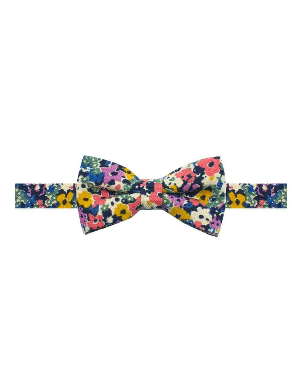 Ecru with Yellow and Pink Floral Print Woven Bowtie WBT34.8