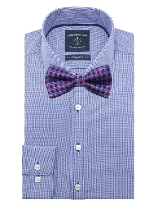 Navy and Pink Checks Woven Bowtie WBT35.7